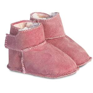 Bottines en peau d'agneau à velcro rose