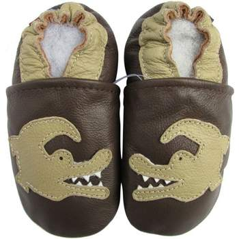 Chaussons cuir souple crocodile fond choco Carozoo