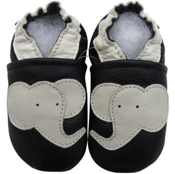 Chaussons cuir souple éléphant fond noir Carozoo