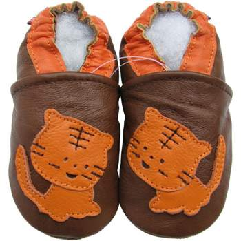 Chaussons cuir souple tigre fond chocolat