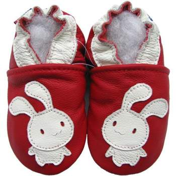 Chaussons cuir souple bunny fond rouge