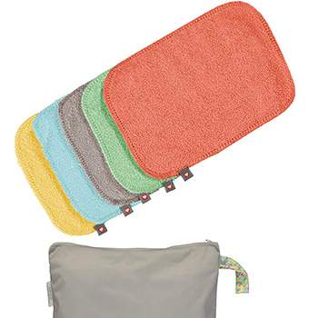 Lingettes lavables bambou pastels Close (lot de 10 + sac de stockage)