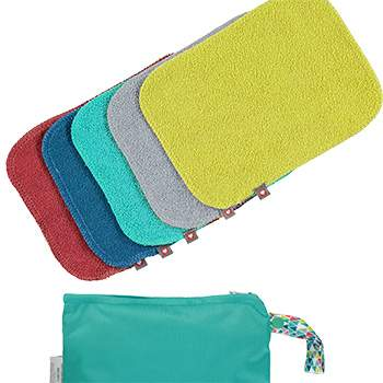 Lingettes lavables bambou bright Close (lot de 10 + sac de stockage)