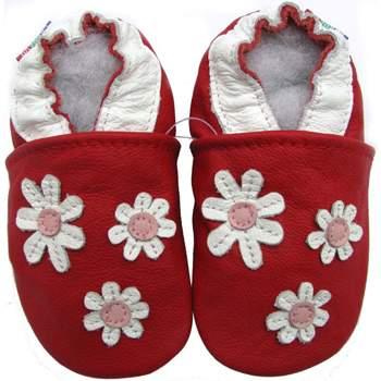Chaussons cuir souple 3 fleurs fond bordeaux