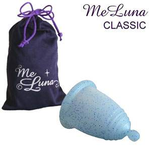 Coupe menstruelle Meluna boule - paillette bleue