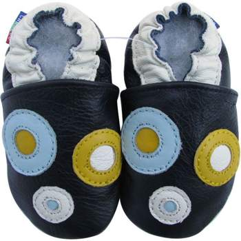 Chaussons cuir souple cercles fond marine Carozoo