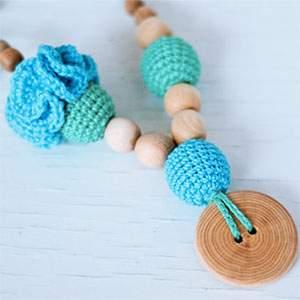 Collier d'allaitement / portage KangarooCare Flower menthe/turquoise