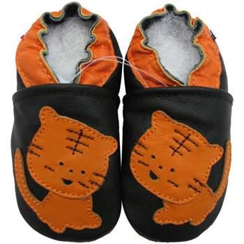 Chaussons cuir souple Tigre fond noir Carozoo