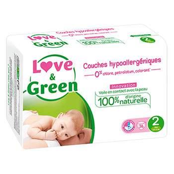 Couches jetables écologiques Love & Green 2 (3-6kg)