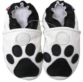 Chaussons cuir souple Paw blanc Carozoo