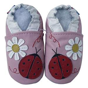 Chaussons cuir souple Ladybug flower pink Carozoo