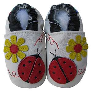 Chaussons cuir souple Ladybug flower cream Carozoo