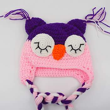 Bonnet en crochet hibou Rose clair - violet