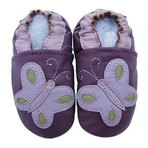 Chaussons cuir souple papillons violet Carozoo