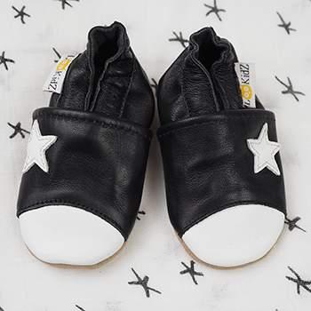 Chaussons en cuir Lookidz Etoile blanche fond noir
