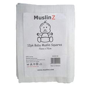 Lot de 12 langes à plier en coton MuslinZ Blanc