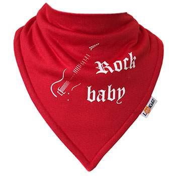 Bavoir bandana Lookidz Rock Baby rouge