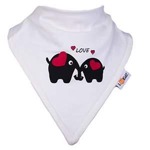 Bavoir bandana Lookidz Eléphants LOVE