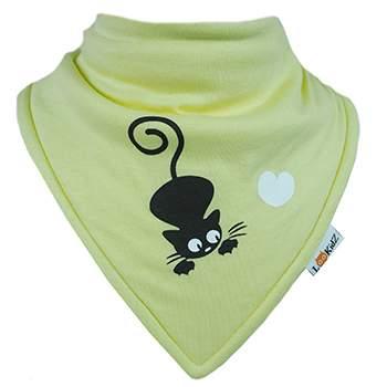 Bavoir bandana Lookidz Chat/coeur jaune