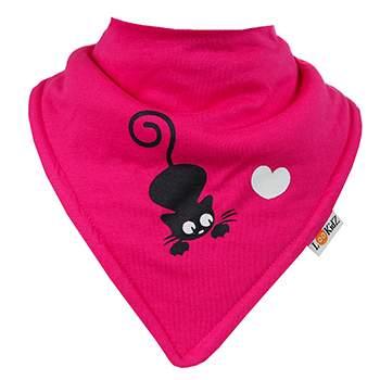 Bavoir bandana Lookidz Chat/coeur rose