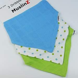Lot de 3 bavoirs bandana MuslinZ Bleu & vert