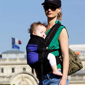 Porte-bébé PhysioCarrier Tablier coton Noir poche iris JPMBB