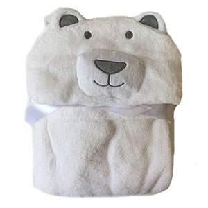Cape de bain Tissu peluche Ours blanc