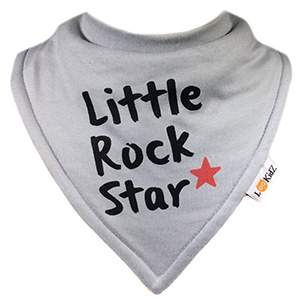 Bavoir bandana Lookidz Little Rock Star gris