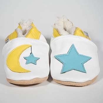 Chaussons en cuir fourrés Lune & étoile