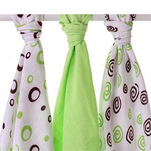 Lot de 3 mini-langes en mousseline de bambou Tournicoti vert Xkko