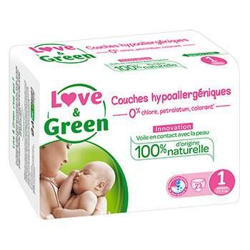 Couches jetables écologiques Love & Green 1 (2-5kg)