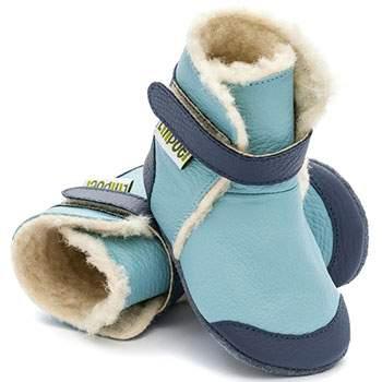 Bottines en cuir souple fourrées Eskimo Blue Liliputi
