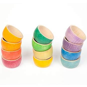 12 Bols colorés en bois Grapat