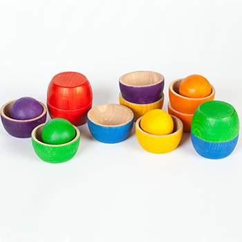 12 Bols et 6 Boules en bois coloré Grapat