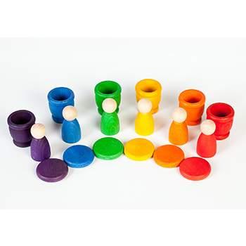 Jouet libre Grapat - 6 Nins, 6 pots et 6 pièces multicolores en bois