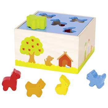 Boîte à formes animaux de la ferme en bois Goki