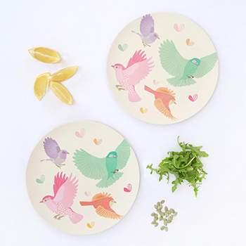 Lot de 2 grandes assiettes Love Mae Oiseaux