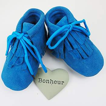 Mocassins montants à lacets en cuir Bleu Lookidz