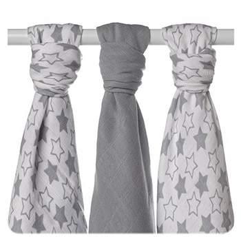Lot de 3 mini-langes en mousseline de bambou XKKO - Little Stars Silver