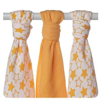 Lot de 3 mini-langes en mousseline de bambou XKKO - Little Stars Orange