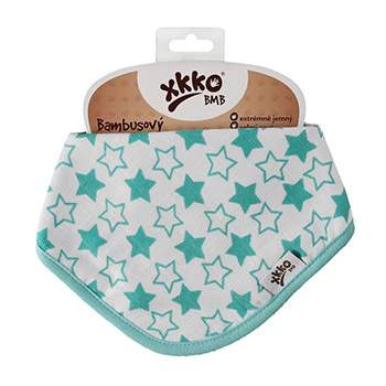 Bavoir bandana en bambou XKKO - Little Stars Turquoise