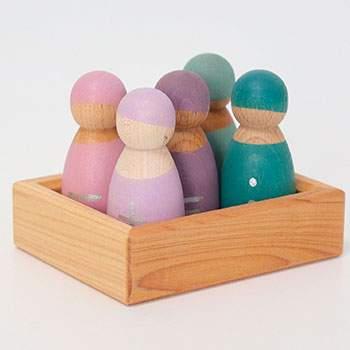 5 bonshommes en bois signes mathématiques Grimm's