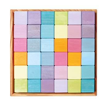 36 cubes en bois - jeu de construction Pastel Grimm's