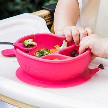 Bol en silicone à compartiment Green Sprouts Rose