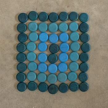 Mandala petites pièces colorées en bois Grapat - Bleu
