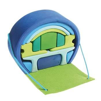 Mobil-home en bois Grimm's - Bleu/vert