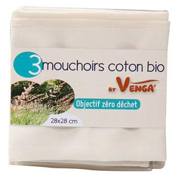 Lot de 3 mouchoirs en coton bio By Venga