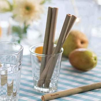Lot 6 petites pailles et brosse de nettoyage Bambu
