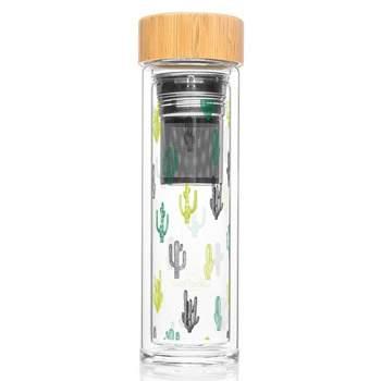 Gourde infuseur nomade en verre Label Tour - Cactus