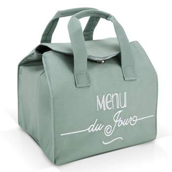 "Sac lunch bag isotherme ""Menu du jour"" Créabisontine - Vert"